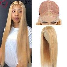 Cabelo humano reto brasileiro 13x1 perucas 100% remy cabelo humano #27 loira/cor natural laço parte perucas 150% densidade euforia