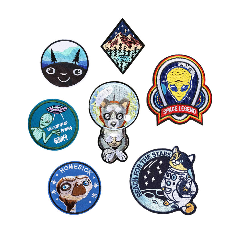 1PCS pack 19 Styles cat UFO Embroidery DIY Patches for Clothing Stripes Alien dog Appliques Clothes Stickers Iron on Space Badge in Patches from Home Garden