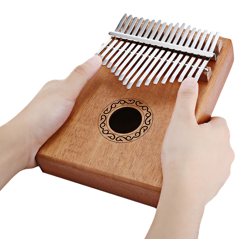 17 Tone Wooden Kalimba Thumb Piano Portable Finger Musical Instrument Toy With Learning Book Tune Hammer Cloth Bag Kids Gifts