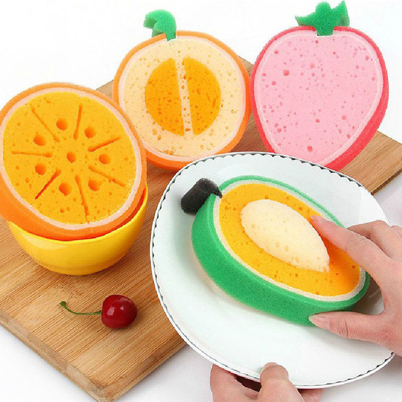 NEW Magic Fruit Sponge Cleaning Towel Cloth Wash Kitchen Dish Foam Pad Cleaner Tools Hand Washing Cleaner Scrubber