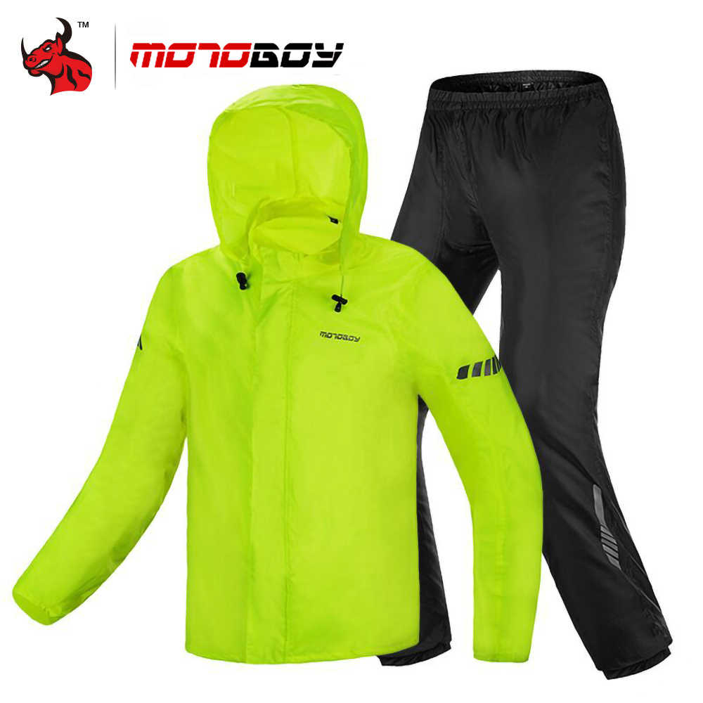MOTOBOY Reflective Hooded Motorcycle Raincoat Jacket Pant Waterproof Suit Men Divided Body Rain Suit Outdoor Motorcycle Clothing