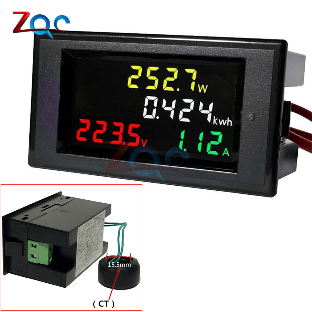 AC 80-300V 220V 100A LCD Digital Ammeter Voltmeter Wattmeter Volt Amp Voltage Current Watt Power Energy Kwh Tester Meter Proper