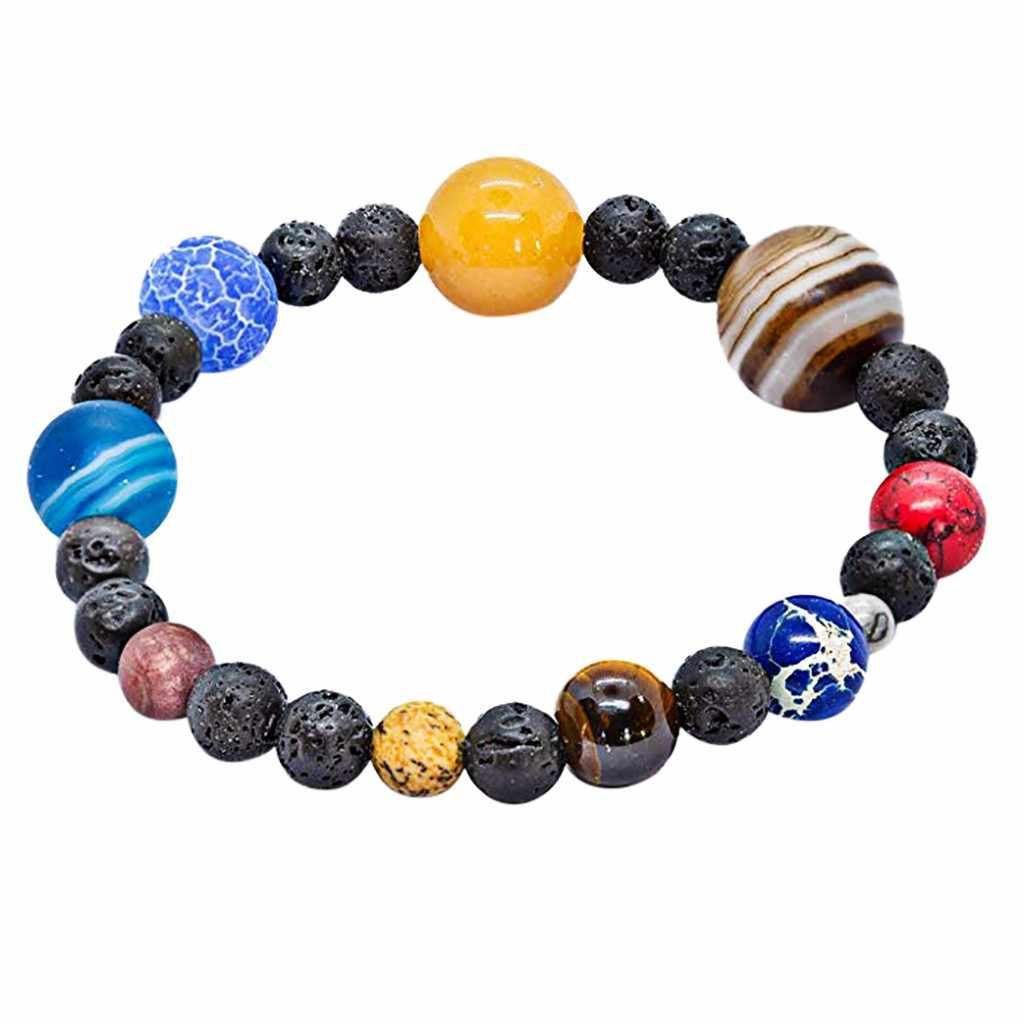 Cristal natural pedra contas pulseira universo galaxy sistema solar pulseiras para homens feminino reiki rosário jóias dropship
