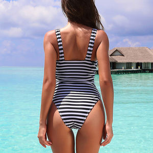 Image 2 - Riseado Striped One Piece Swimsuit 2020 Ruched Swimwear Women Warp V neck Swim Wear One piece Sexy Bathing Suits Women