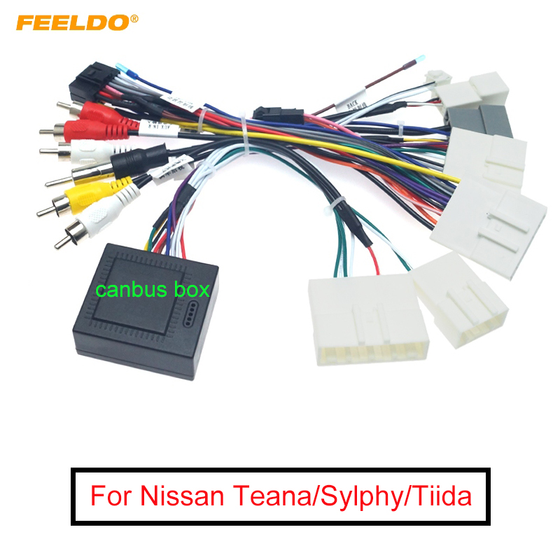 FEELDO Car Audio 16PIN Android Power Cable Adapter With Canbus Box For Nissan Teana/Sylphy/Tiida Power Cable Wiring Harness
