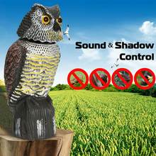 Bird Scarer 360°Rotate Head Sound Owl Decoy Protection Repellent Pest Control Scarecrow Garden Yard Move Decor(China)