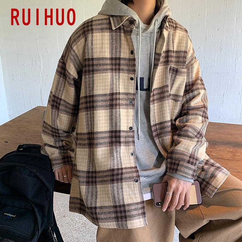 RUIHUO Woolen Men's Jacket Streetwear Men Jacket Clothing Harajuku Vintage Jackets For Men M 2XL 2021 New Arrivals
