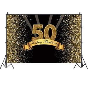 Image 3 - 50th Ảnh Lưng Nữ Nam Bữa Tiệc Sinh Nhật Vui Vẻ Tùy Chỉnh Hoa Vàng Champagne Trang Trí Chụp Ảnh Nền Biểu Ngữ