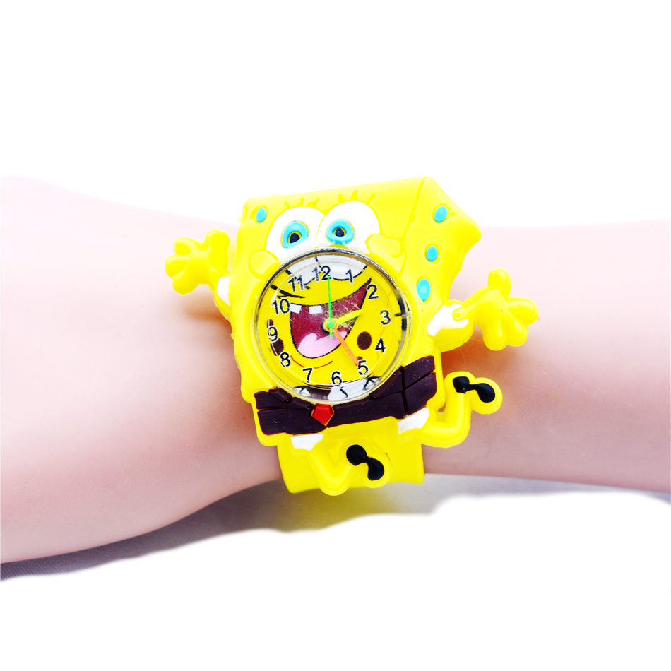 Cute Toddler Spongebob Watch Kids Descendants Gift Yellow Silicona Quartz Watches Children Toys