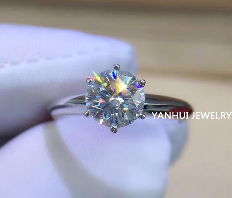 Wedding-Ring Solitaire Diamond Pt White Gold Silver Certificate 18K Women Zirconia Luxury