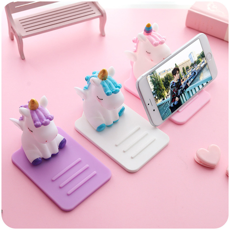 Cartoon Silicone Cartoon Mobile Phone Holder Unicorn Car Desktop Multi-function Adjustable Bracket Non-slip Cute Stand