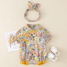 LZH Newborn Baby Clothing 2021 Summer New Sweet Cute Yellow Floral Baby One-piece Set Kids Clothes Infant Girls Bag Fart Romper