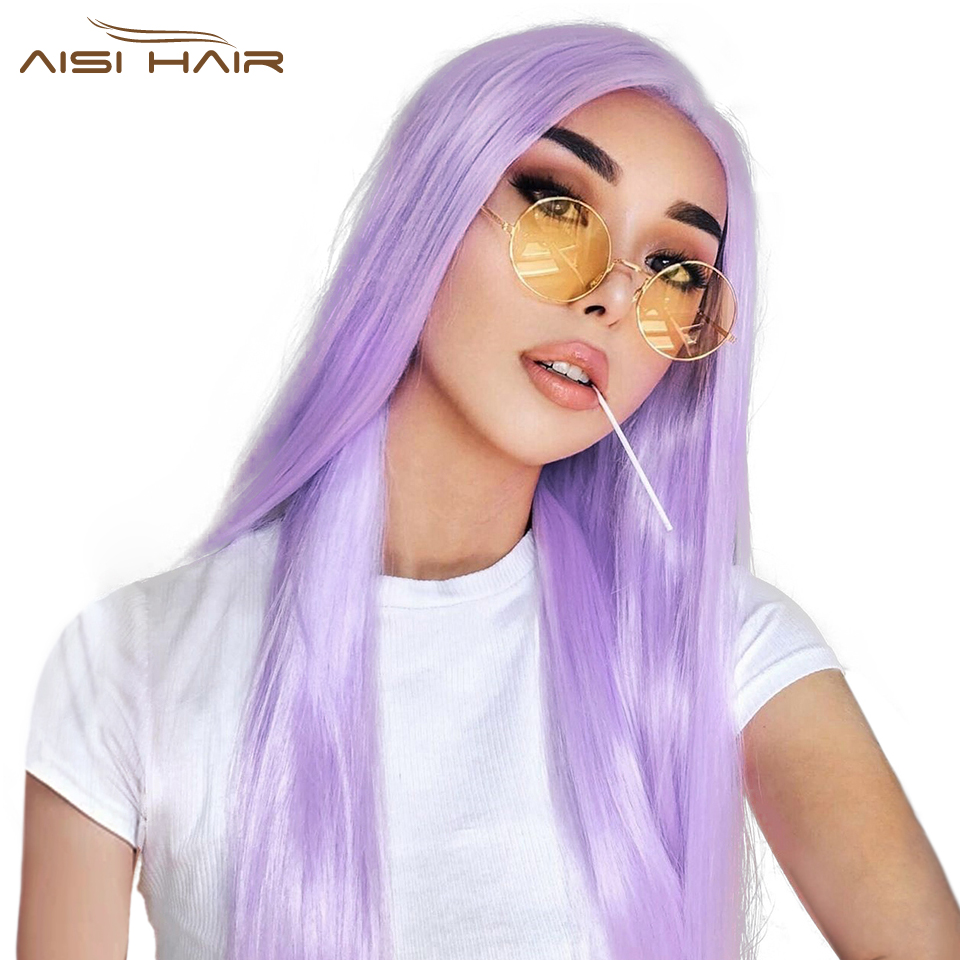 I's A Wig 24'' Purple Long Straight Synthetic Wigs For Women Sale Pink/Yellow/Orange Wigs Can Be Cosplay Middle Part Nature Hair