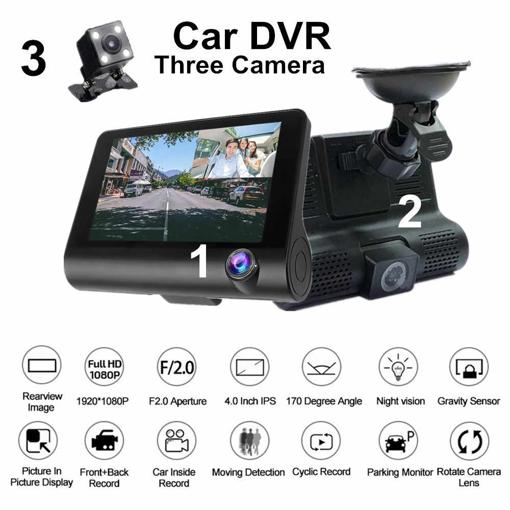 MD-DVR 4 ''tres lentes espejo coche DVR 1080p Full HD Video Driving Recorder Cámara retrovisora Dash Cam g-sensor visión nocturna Dashcam
