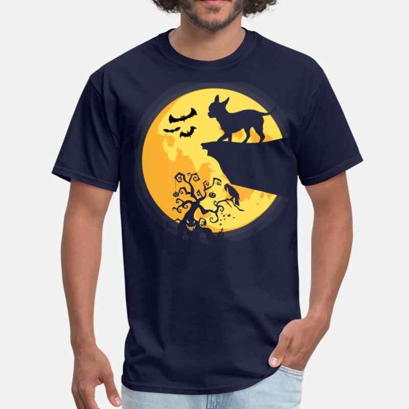 Déguisement d'halloween Silhouette Chihuahua chien lune T-Shirt homme 2020 col rond unisexe T-Shirt pour hommes à manches courtes femme