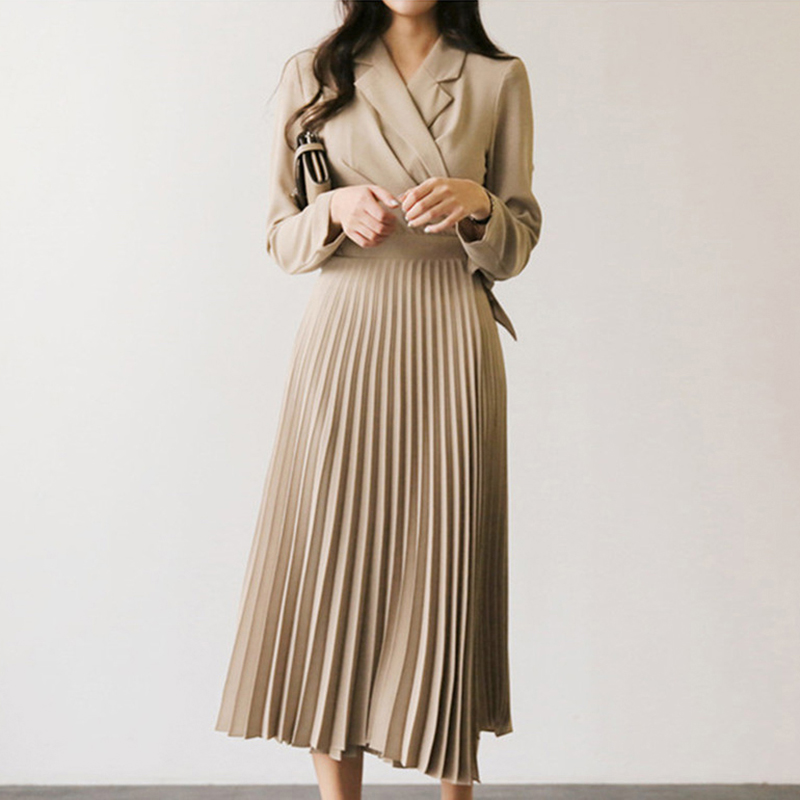 Autumn 2019 Women Dresses Solid Long Sleeve Office Lady Pleated Dress Elegant Notched Collar Long Sashes Dress Robe Femme