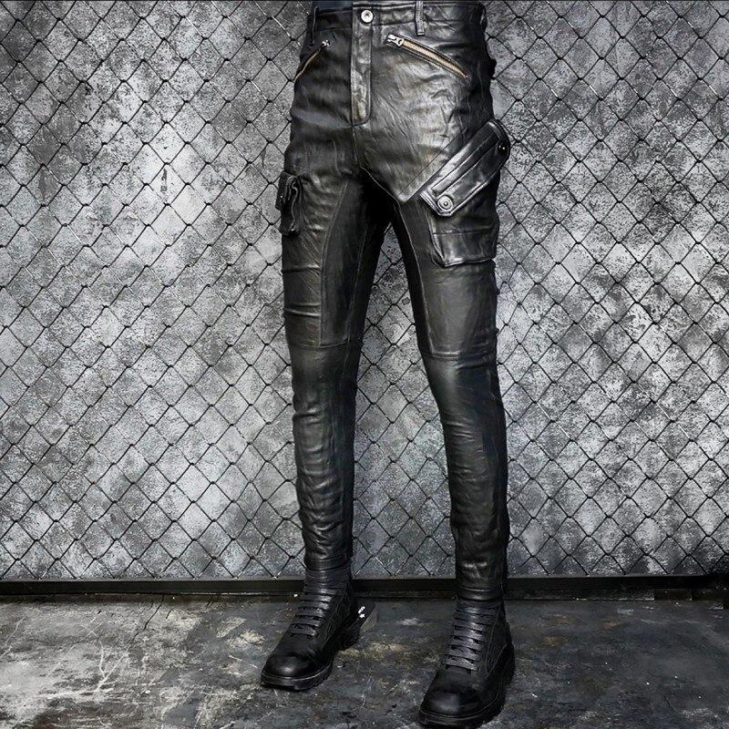 Men Genuine Leather Pants Motorcycle Slim Sheepskin Pleated Pencil Pants Luxury Multi-Pocket Vintage Punk Biker Trousers Black