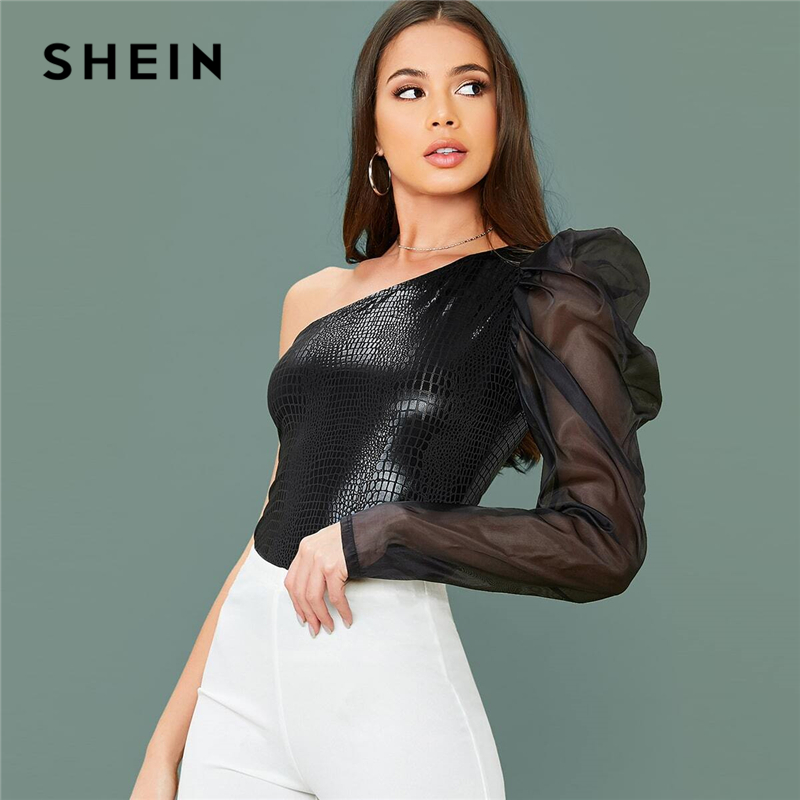 SHEIN One Shoulder Leg-Of-Mutton Sleeve Crocodile Embossed Sexy Top Women 2020 Spring Contrast Mesh Fitted Ladies Glamorous Tops 1