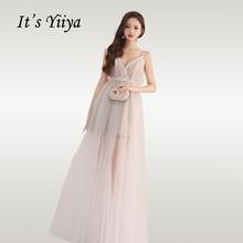 It's Yiya элегантные платья для выпускного вечера с глубоким v-образным вырезом женские вечерние платья на тонких бретельках без бретелек с оборками, длинное платье, размер, платье для выпускного вечера E696