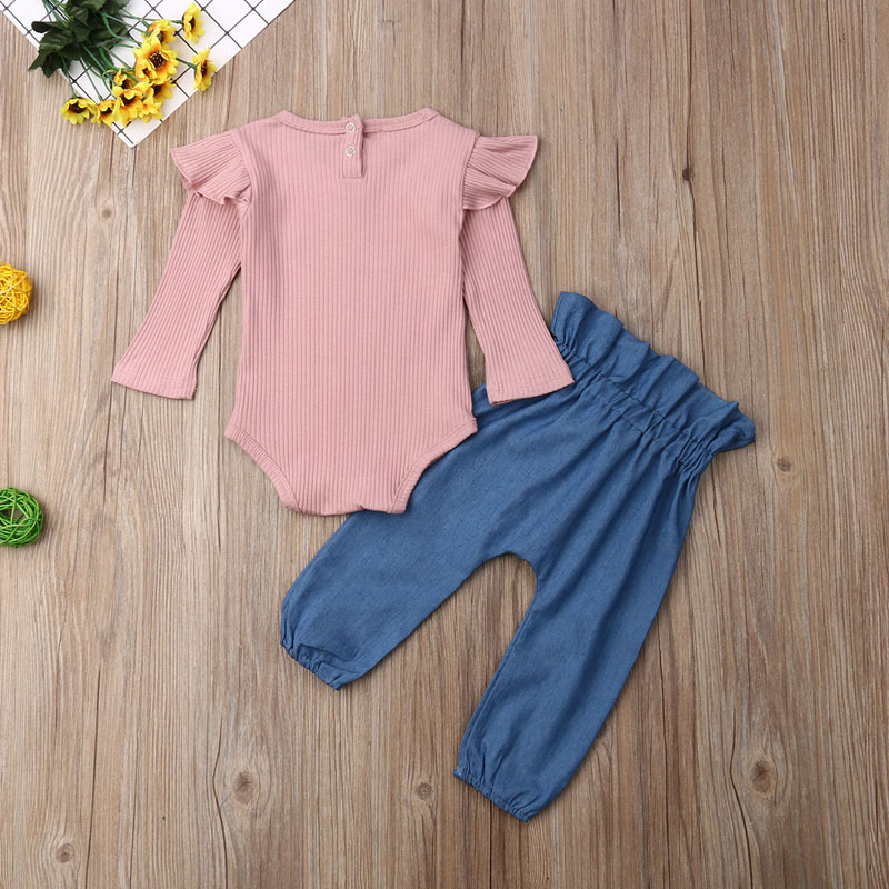 Girl Long Sleeve Romper & Cotton Trouser 0-24M