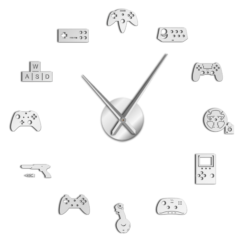 Game Controller Video Diy Giant Wall Clock Joysticks Stickers Gamer Art Gaming Signs Boy Bedroom Room Decor