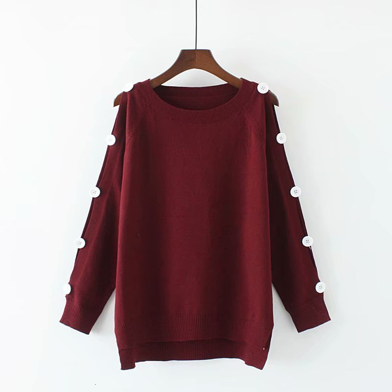 Plus Size Black & Dark Red Button Autumn Women Sweaters  O -neck Drop -shoulder Sleeve Women's Sweater Wool Women's 4XL