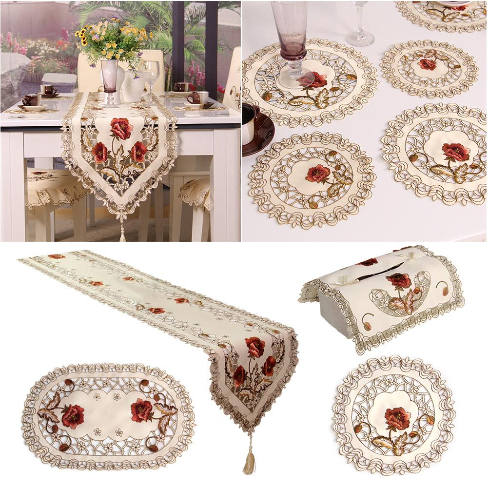 Retro European Pastoral Embroidered Floral Tablecloth Table Runner Home Kitchen Dining Room Decoration Decor