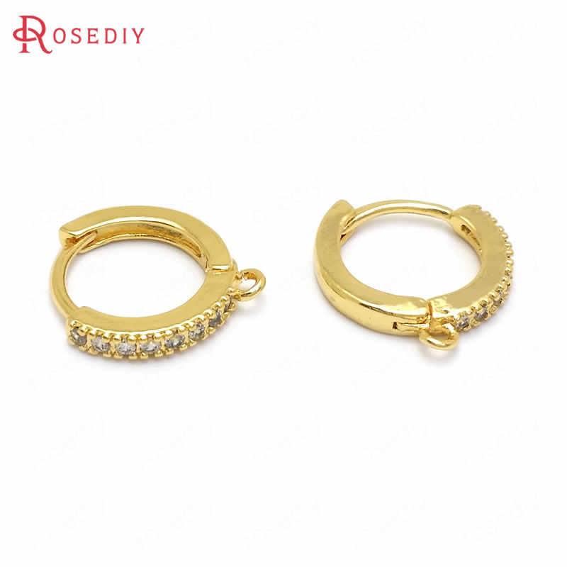6 Pcs 12X12 Mm Emas 24K Warna Kuningan dan Bulat Zirkon Anting-Anting Kait Kualitas Tinggi Membuat Perhiasan perlengkapan DIY Temuan Aksesoris