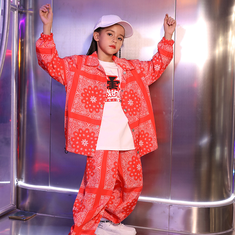 Jazz Dance Costumes For Kids Girls Street Dance Performance Stage Outfit Boys Hip Hop Dance Red Suit Child Rave Outfit DQL3145