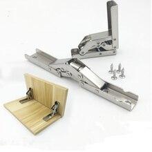 2pcs Thicken Stainless steel Shelf Bracket 90 Degree Folding Hinge Support Combination Hidden furniture accessories