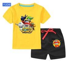 Crianças conjuntos de roupas 2020 verão criança algodão 2 pçs conjuntos esportes crianças ternos do bebê meninos terno moda crianças avião 7t
