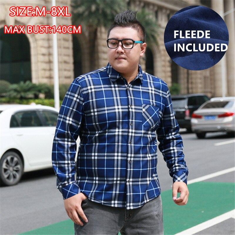 Winter Shirt Fleece 2019 Man Plaid Shirts Casual Regular Slim Long Sleeve Warm Red Clothes 5XL 6XL 7XL 8XL Formal Men's Clothing