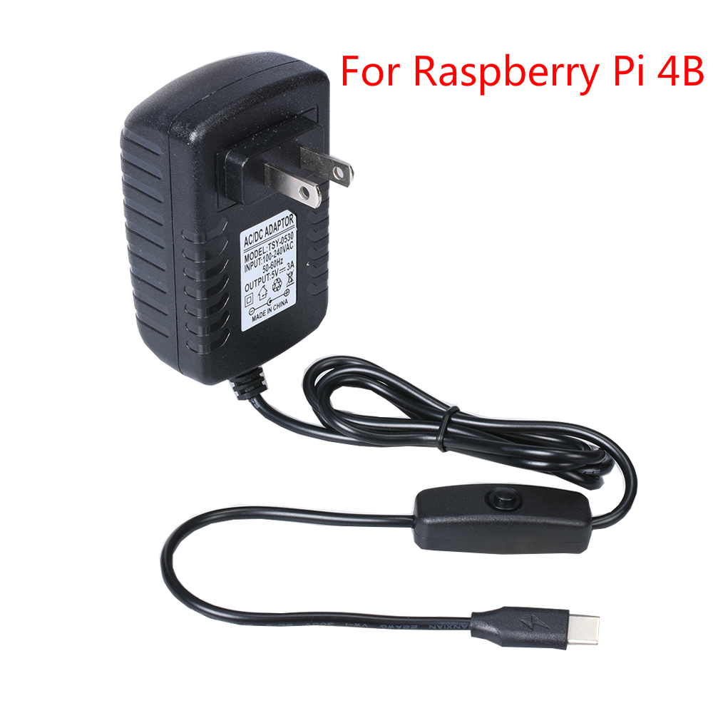 Raspberry Pi 4B 5V 3A Power Adapter Power Supply  Type-C USB  US/UK Charger  DC/AC Adapter 100-240V  For Raspberry Pi 4 Model B