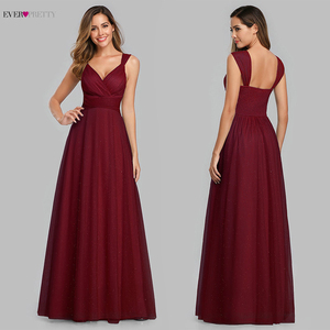 Image 5 - Spakle Prom Dresses Long Ever Pretty A Line V Neck Ruched Elegant Cheap Tulle Evening Party Gowns Vestidos Largos Fiesta 2020