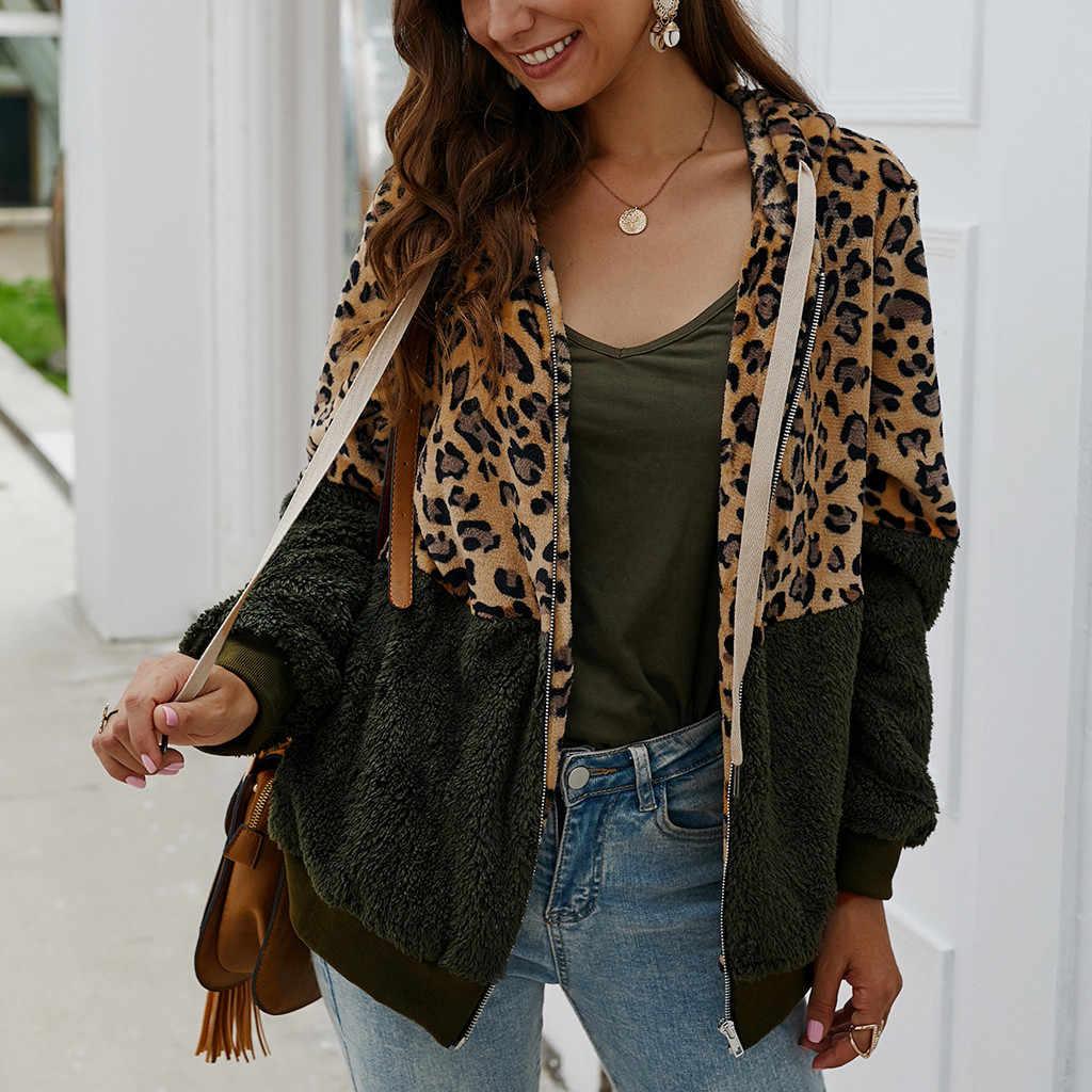 Frauen Oberbekleidung Mäntel Jacken Mode Leopard Print Patchwork Fleece Langen Ärmeln Strickjacke Zipper Warm Halten Damen Tops F40