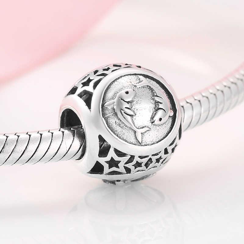 Винтажные 925 пробы серебряные рыбы звезда знак зодиака бусины амулеты подходят оригинальный Pandora браслет ювелирные изделия
