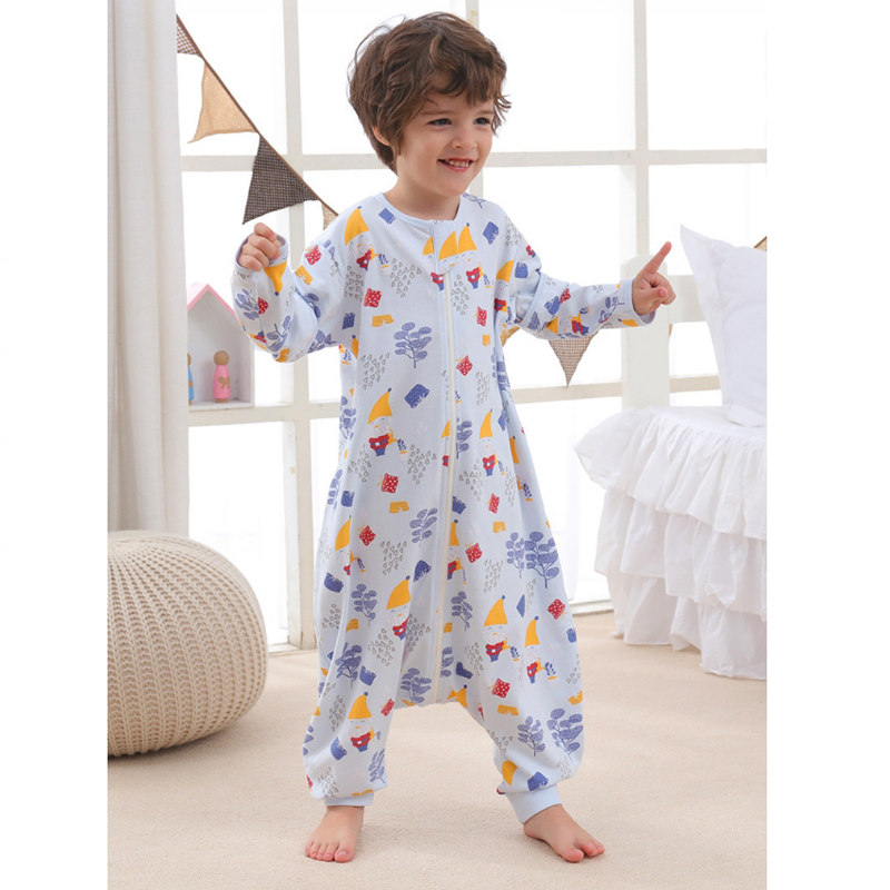 Adjustable Sleeve Baby Sleeping Bag Kids Printed Split Sleep Sack Children Spring Summer Play Sleep Gown Infant Sleepsack