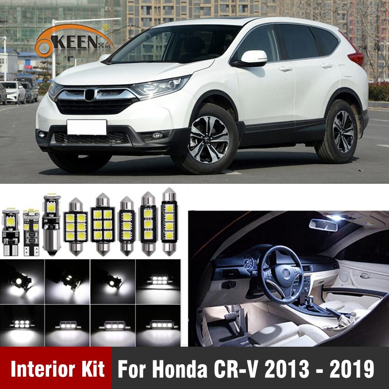 12pcs Error Free Car Interior LED Light Kit for Honda CRV CR-V 2013 - 2016 2017 2018 <font><b>2019</b></font> W5W LED Bulbs Interior Map Dome Light image