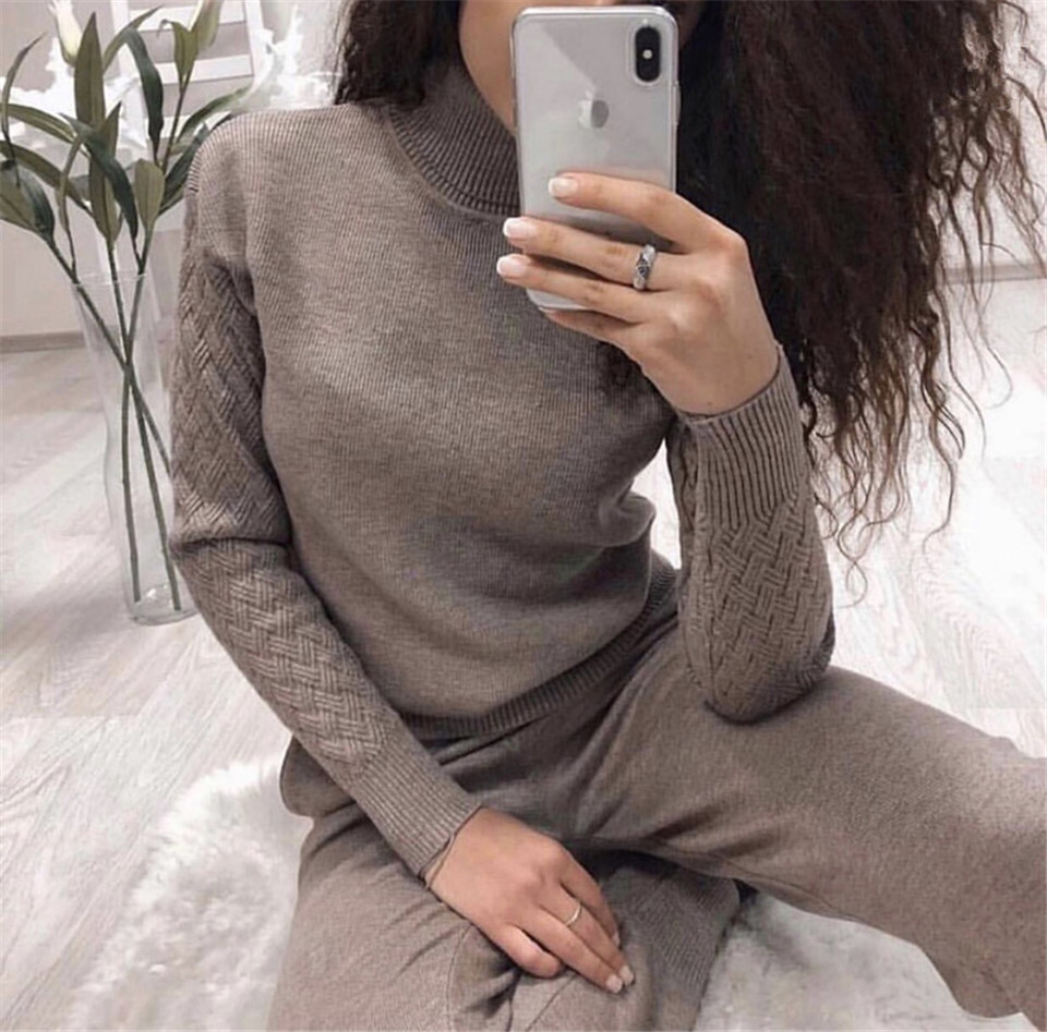 2019 New Knitted Tracksuit Turtleneck Pullover Sports Sweatshirts Women 2 Piece Sets Knitted Pants+Jumper Suit Clothing Set