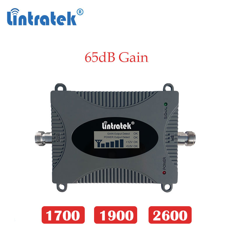 Lintratek 2600mhz 4g Lte Signal Booster 4G 1700 AWS 3g 1900 PCS B2 Cellular Booster Repeater 2600 Mobile Cellphone Amplifier Dd