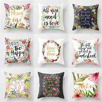 Sigle-sided Polyester Flower Letter Print Cushion Cover Throw Pillow Cover Nordic Living Room Decoration for Home Car Sofa Couch
