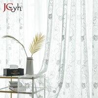 거실에 대 한 수 놓은 꽃 Tulle 커튼 흰색 깎아 지른 커튼 침실 부엌 Voile 커튼 창 패브릭 커튼에 대 한
