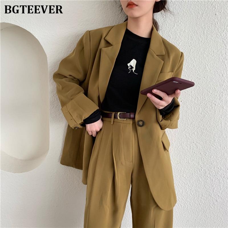 Fashion Loose Pant Suit Women One Button Jacket & Straight Pant Elegant Female Trouser Suits 2019 Autumn 2 Pieces Set Femme