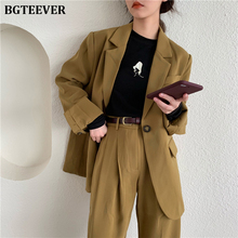 Fashion Loose Pant Suit Women One Button Jacket & Straight Pant Elegant Female T