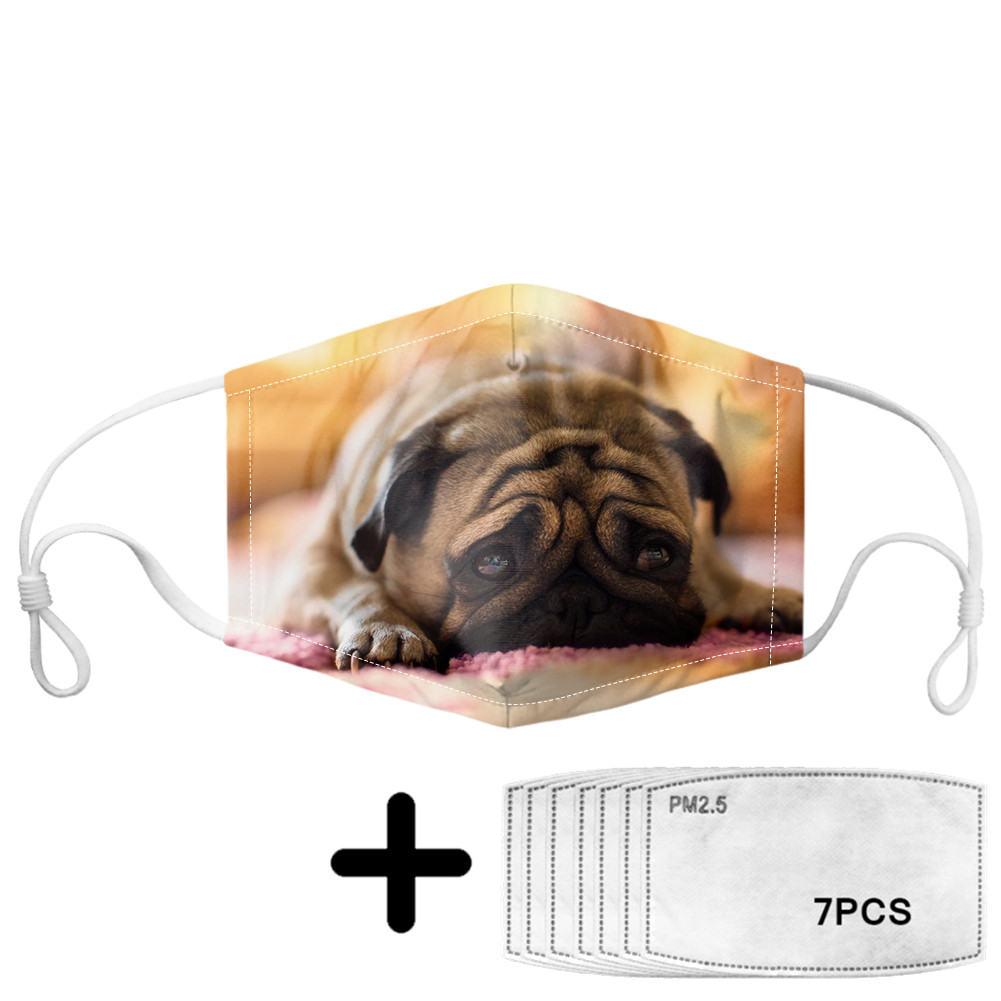 Funny Cute Pug Pattern Mouth Mask Women Anti Air Dust Elastic Reusable Dustproof Face Soft Masks With Dogs Print Non-disposable