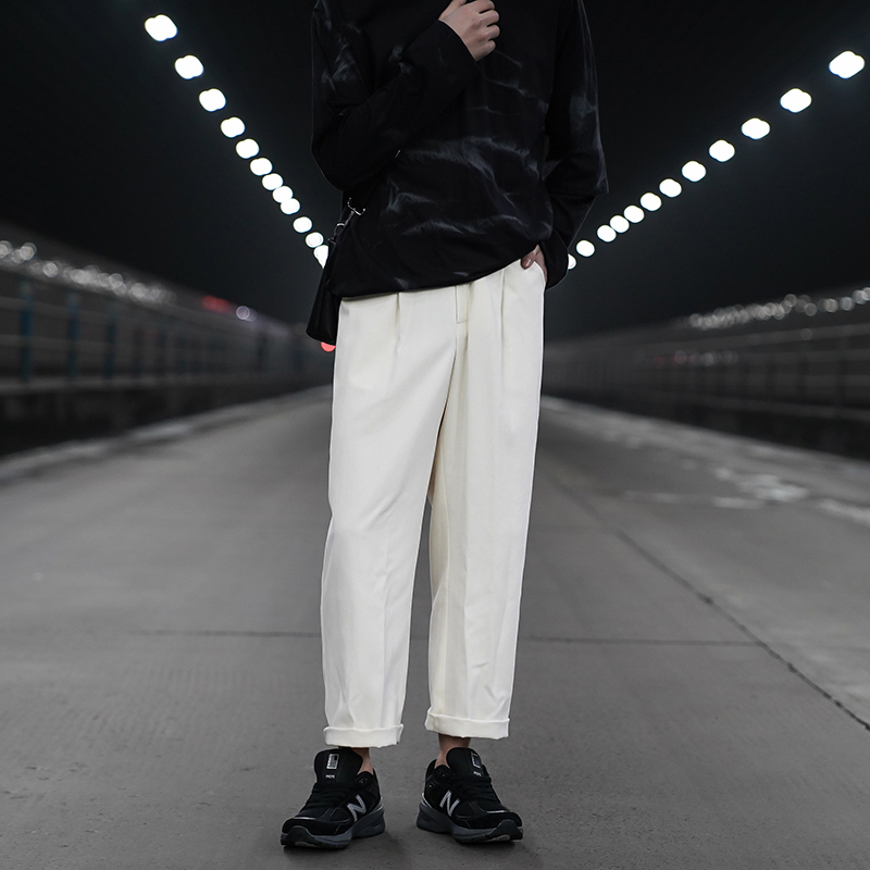 Spring Summer Straight Casual Pants Men's Fashion Solid Color Loose Trousers Men Streetwear Wild Black White Pants Mens S-2XL