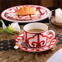 High Grade Bone China Chinese Red Coffee Cup Ceramic Tea Cup Set Dish Animal Tablewar Set Wedding and Housewarming Gifts