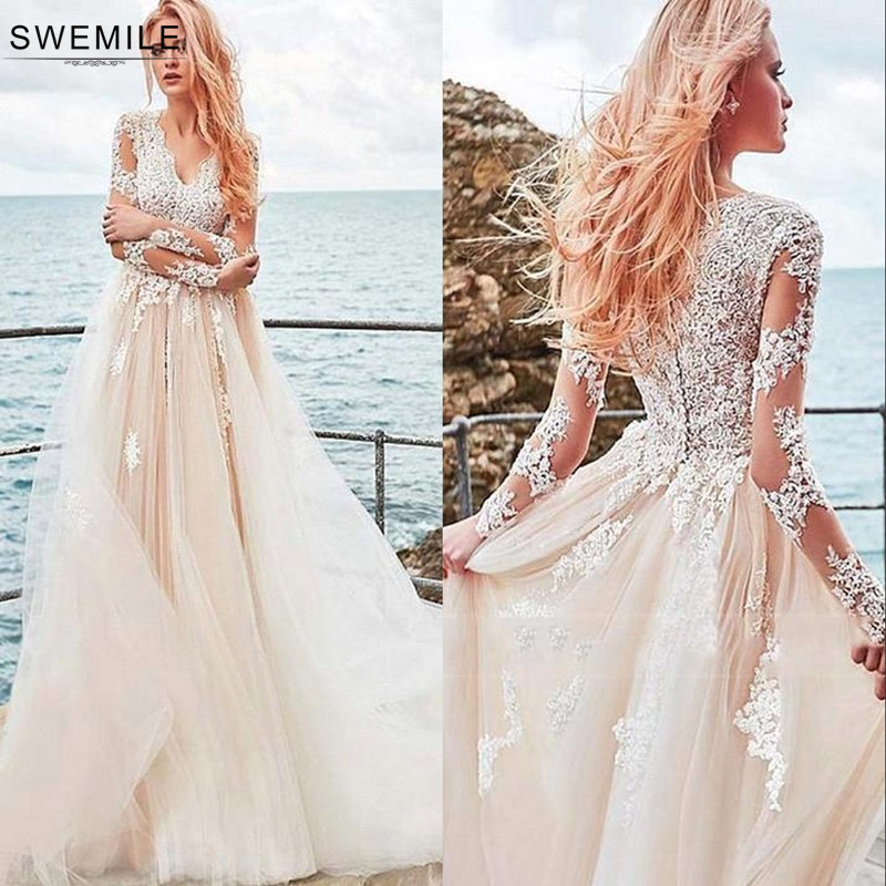 Romantic Beach Style Bohemian Lace Wedding Dress 2019 Elegant Long Sleeve Bride Dress Tulle Wedding Gowns Vestido De Noiva