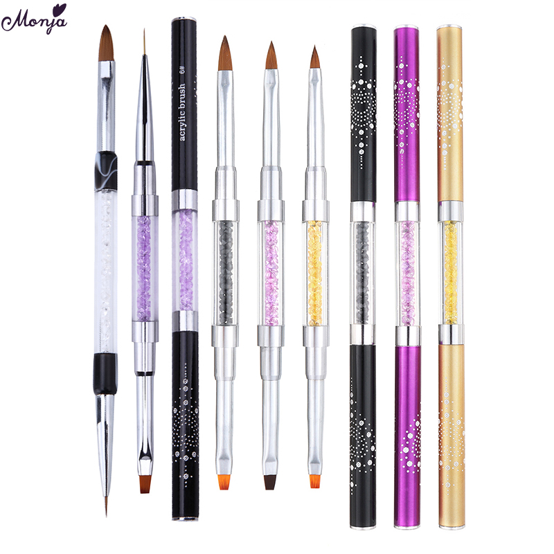 Monja Dual End Nail Art French Stripe Lines Liner DIY Painting Brush Acrylic UV Gel Extension Builder Drawing Pen Manicure Tool