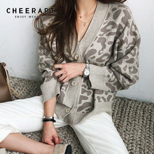 Cheerart Leopard Print Cardigan Long Sleeve V Neck Knitted Sweater Knitwear Button Up Casual Outerwear Clothing
